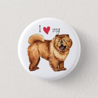I Love my Chow Pinback Button