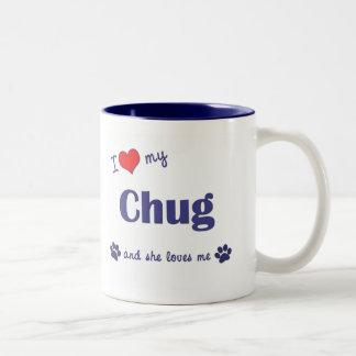 I Love My Chug (Female Dog) Two-Tone Coffee Mug
