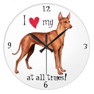 I Love my Cirneco dell'Etna Large Clock