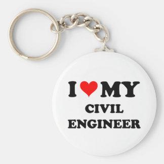I Love My Civil Engineer Keychain