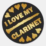 I LOVE MY CLARINET CLASSIC ROUND STICKER