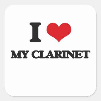 I love My Clarinet Square Stickers