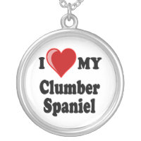 I Love My Clumber Spaniel Dog Silver Necklace
