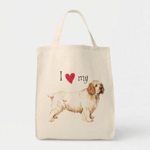 I Love my Clumber Spaniel Tote Bag