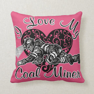 i love my coal miner throw pillow