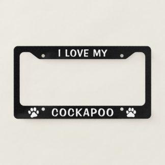 I Love My Cockapoo - Paw Prints License Plate Frame