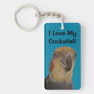 I Love My Cockatiel! Bird Single-Sided Rectangular Acrylic Keychain