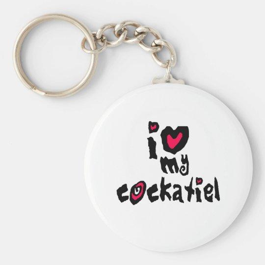 I Love My Cockatiel Keychain