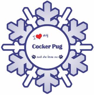 I Love My Cocker Pug (Female Dog) Photo Sculpture Ornament