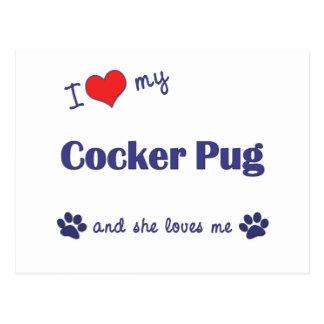 I Love My Cocker Pug (Female Dog) Postcard
