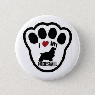 I love my Cocker Spaniel Paw Print Button