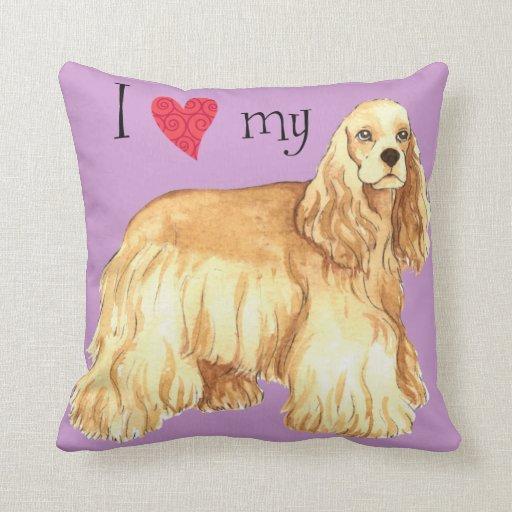 I Love my Cocker Spaniel Throw Pillow
