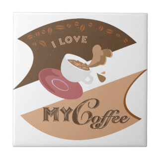 I Love My Coffee Retro Diner Java Splash Tile