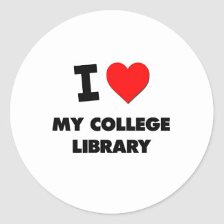 I love My College Library Classic Round Sticker