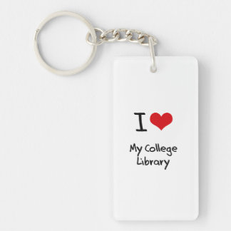 I love My College Library Rectangle Acrylic Key Chain