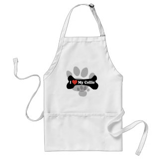 I Love My Collie - Dog Bone Adult Apron