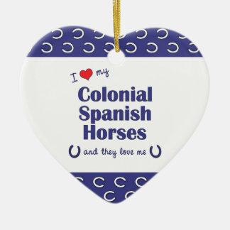 I Love My Colonial Spanish Horses (Multi Horses) Christmas Ornament