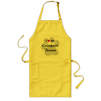 I Love My Colorpoint Persian Cat Pawprint Design Long Apron