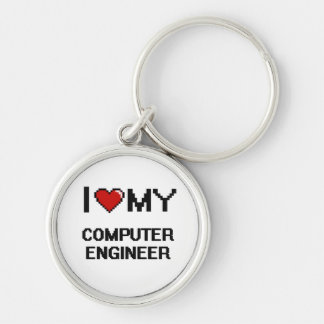 I love my Computer Engineer Silver-Colored Round Keychain