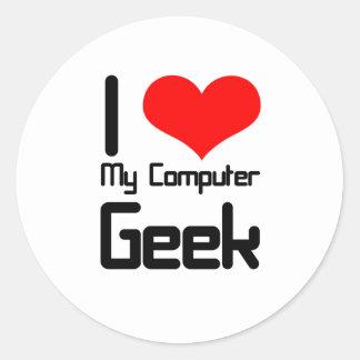 I love my computer geek classic round sticker