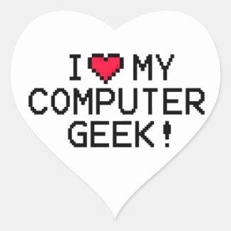 I Love My Computer Geek Heart Sticker