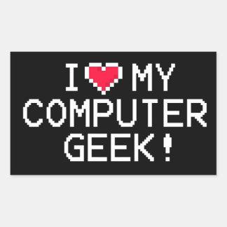 I Love My Computer Geek Rectangular Sticker