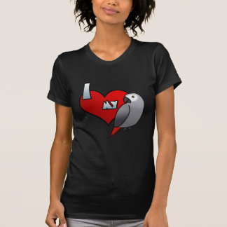 I Love my Congo African Grey Ladies Twofer Shirt