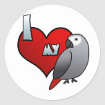 I Love my Congo African Grey Stickers