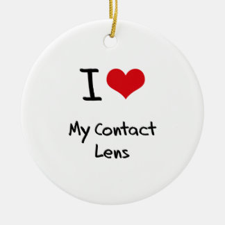 I love My Contact Lens Double-Sided Ceramic Round Christmas Ornament