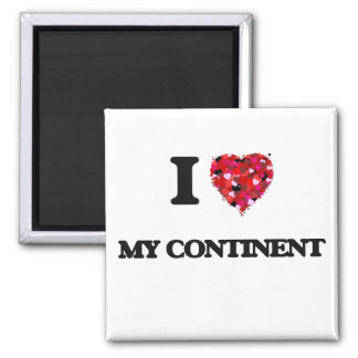 I love My Continent 2 Inch Square Magnet
