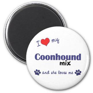 I Love My Coonhound Mix (Female Dog) 2 Inch Round Magnet