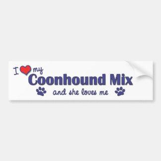 I Love My Coonhound Mix (Female Dog) Bumper Sticker