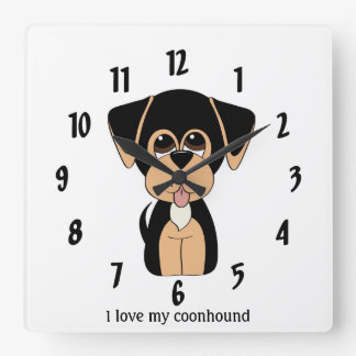 I Love My Coonhound Wall Clock