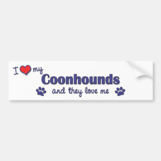 I Love My Coonhounds (Multiple Dogs) Car Bumper Sticker