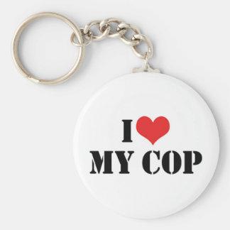 I Love My Cop Keychain
