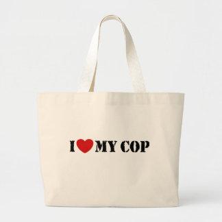 I Love My Cop Large Tote Bag