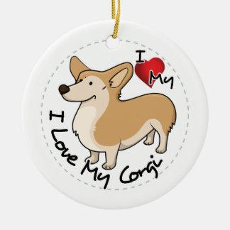 I Love My Corgi Dog Ceramic Ornament