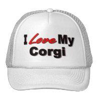 I Love My Corgi Dog Gifts and Apparel Mesh Hats