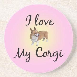 I Love My Corgi Sandstone Coaster