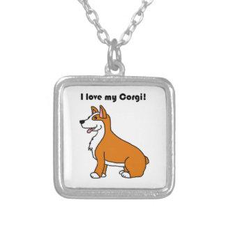 I Love My Corgi Tan and White Cartoon Silver Plated Necklace