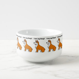 I Love My Corgi Tan and White Cartoon Soup Mug