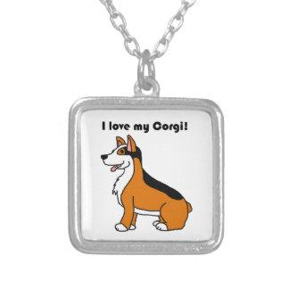 I Love My Corgi Tri-Color Cartoon Silver Plated Necklace