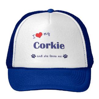 I Love My Corkie Female Dog Mesh Hats