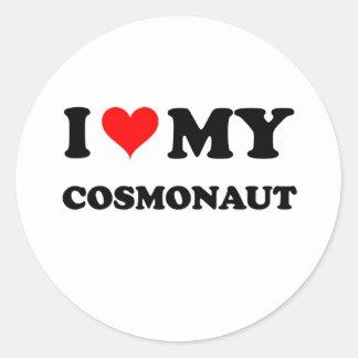 I Love My Cosmonaut Round Sticker