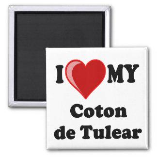 I Love My Coton De Tulear Dog 2 Inch Square Magnet