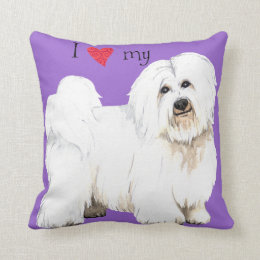 I Love my Coton de Tulear Throw Pillow