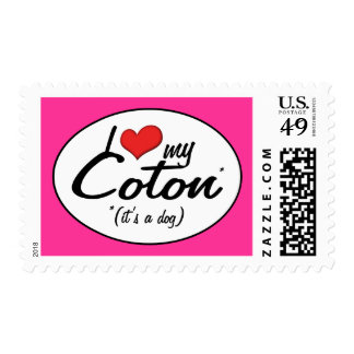I Love My Coton (It's a Dog) Postage Stamp