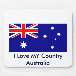 I Love MY Country Australia Flag Template Mouse Pad