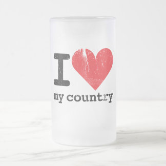I love my country Frosted Glass Mug