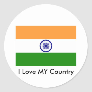 I Love MY Country India Classic Round Sticker